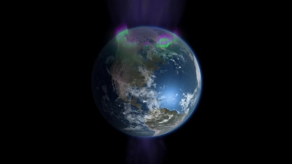 "Visualization showing how charged particles stream onto the poles of the Earth creating the northern and southern lights as seen in the new PBS documentary ""Earth from Space"" by NOVA."