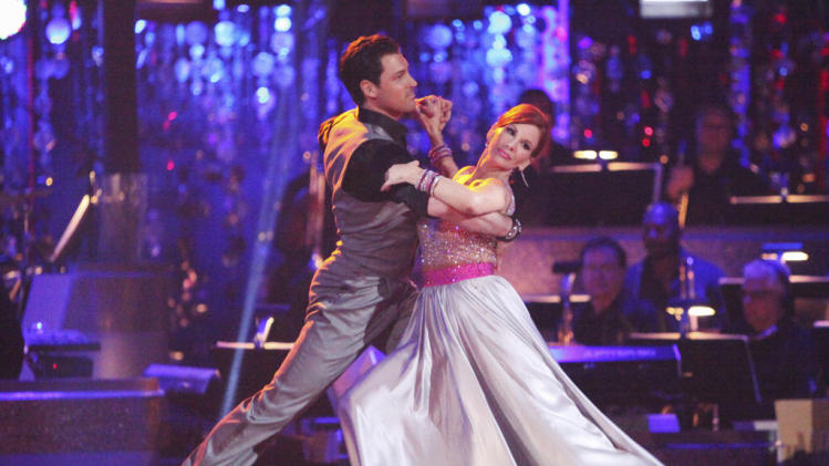 "Maksim Chmerkovskiy and Melissa Gilbert perform on ""Dancing With the Stars."""