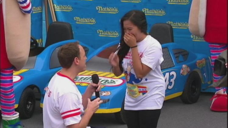 VIDEO: Joey Chestnut proposes marriage, wins hot dog contest