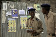 <p>Ethiopian police officers patrol in Addis Ababa. An Ethiopian court on Thursday delayed the appeal of blogger Eskinder Nega and opposition leader Andualem Arage who were jailed earlier this year for for terror-related offences.</p>