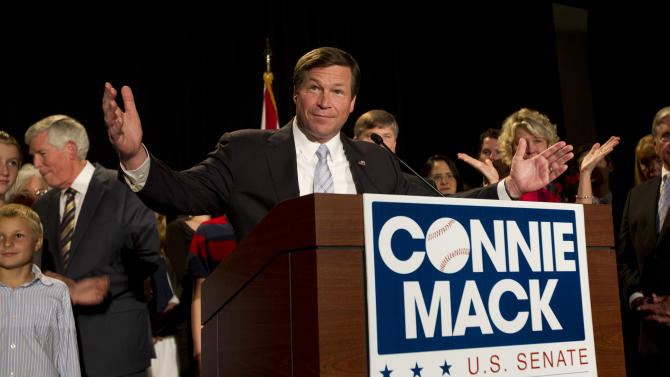U.S. Rep. Connie Mack, R-Fla., speaks to the media and supporters at his watch party in Bonita Springs, Fla. Tuesday, Nov. 6, 2012, where he conceded his senate race to Bill Nelson.  (AP Photo/J Pat Carter)