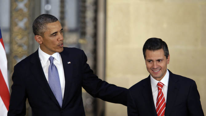 President Barack Obama and Mexico's President Enrique Pena Nieto, right, leave a joint news conference in Mexico City, Mexico, Thursday, May 2, 2013. Obama sought on Thursday to tamp down a potential rift with Mexico over a dramatic shift in the cross-border fight against drug trafficking and organized crime, acceding that Mexicans had the right to determine how best to tackle the violence that has plagued their country. (AP Photo/Dario Lopez-Mills)