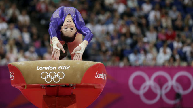 U.S. gymnast Jordyn Wieber performs on the vault during the Artistic Gymnastics women's qualification at the 2012 Summer Olympics, Sunday, July 29, 2012, in London. (AP Photo/Gregory Bull)