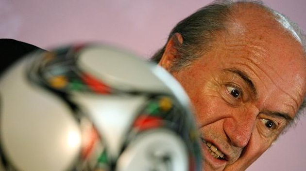 FIFA president Sepp Blatter looks past a soccer ball during a press conference ahead of the official draw for the 2010 FIFA World Cup, held on Robben Island off Cape Town, South Africa, 03 December 2009. Blatter said that the event is Africa's moment wher