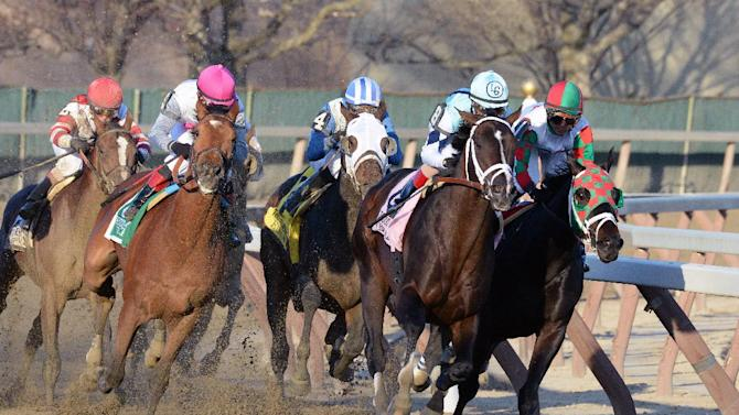 In this photo provided by the New York Racing Association, Verrazano, second from right, with John Velazquez aboard, captures The Grade I Wood Memorial stakes horse race at Aqueduct Race Track in New York, Saturday, April 6, 2013. Normandy Invasion (red helmet) was second and Vyjack (pink helmet) was third. (AP Photo/New York Racing Association)