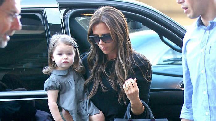 Victoria Beckham, her daughter Harper Seven and her three sons Brooklyn , Cruz and Romeo seen at Los Angeles International Airport