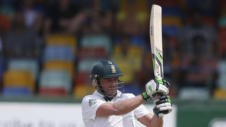 South Africa's de Villiers plays a shot during the third day of their second test cricket match against Sri Lanka in Colombo