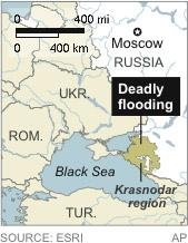 Map locates the Krasnodar region of Russia where 99 people have died in flooding
