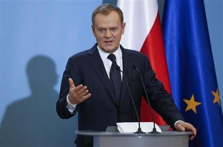 Poland's Prime Minister Donald Tusk speaks to the media during a news conference at the Prime Minister's Chancellery in Warsaw