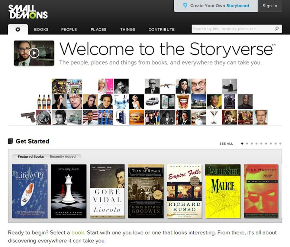 "This computer image released by SmallDemons.com shows the home page of Small Demons, an encyclopedia and ""Storyverse"" that catalogues names, places, songs, products and other categories for thousands of books. (AP Photo/SmallDemons.com)"