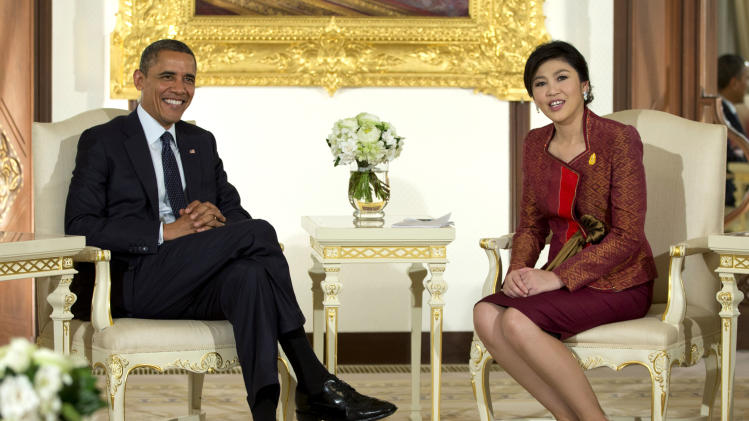 U.S. President Barack Obama, left, and Thai Prime Minister Yingluck Shinawatra are photographed before a meeting at the Government House in Bangkok, Thailand, Sunday, Nov. 18, 2012. (AP Photo/Carolyn Kaster)