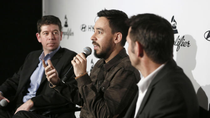 CMO of the Recording Academy Evan Greene, musician Mike Shinoda of Linkin Park and Senior Group Manager of New Media for Hyundai Jon Budd attend the 4th Annual Social Media Rock Stars Summit, on Friday, February, 8, 2013 in Los Angeles(Photo by Todd Williamson/Invision for Billboard Magazine/AP Images)