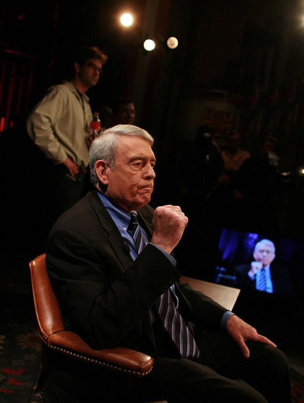 """In this Jan. 8, 2008 image released by HDNet, Dan Rather covers the 2008 New Hampshire Presidential Primary for his HDNet program """"Dan Rather Reports"""" at the Palace Theatre in downtown Manchester. Rather is approaching several milestones: five years at HDNet, nearly 200 episodes of """"Dan Rather Reports"""" and, on Halloween, an 80th birthday as a still-working reporter. (AP Photo/HDNet, Lucian Read)"""