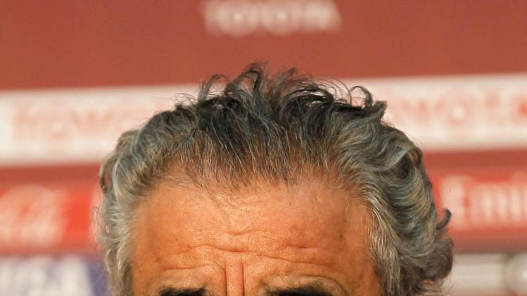 Faouzi Benzarti, coach of Morocco's Raja Casablanca, attends a news conference in Marrackech Stadium
