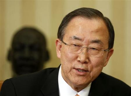 UN General Secretary Ban Ki-moon speaks after meeting at the White House in Washington