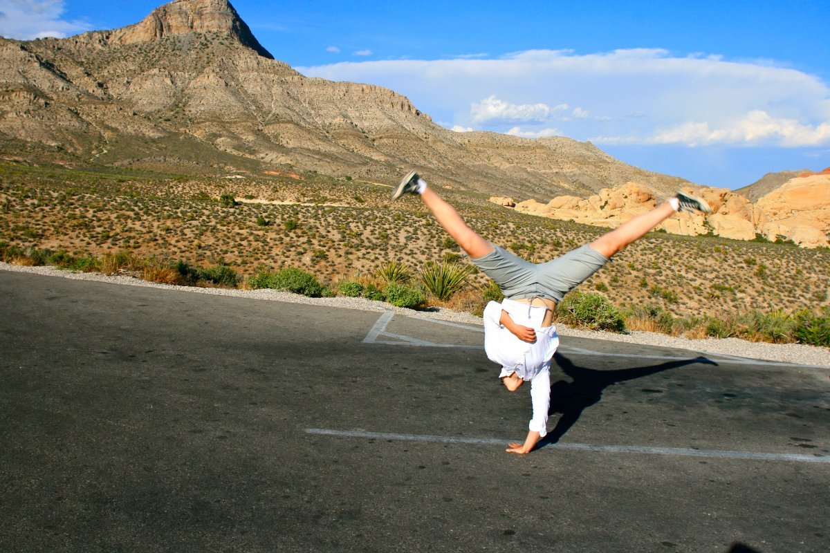 cartwheel fun exercise desert
