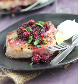 Grilled pork chops with blackberry sweet and sour sauce