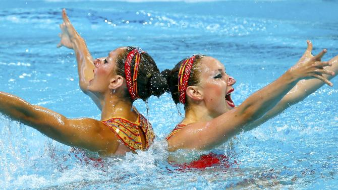 Auge and Chretien of France perform during synchonised swimming duet free final at Aquatics World Championships in Kazan