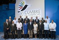Leaders pose for the family picture during the VI Americas Summit at the Julio Cesar Turbay Ayala Convention Center in Cartagena, Colombia. Cuba has yet to take part in a Summit of the Americas, a regular meeting sponsored by the US-based Organization of American States (OAS)