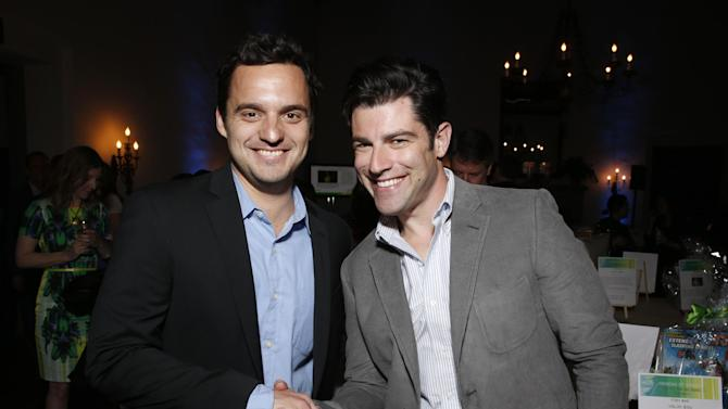 IMAGE DISTRIBUTED FOR FOX - Max Greenfield and Jake Johnson attend VERTE Grades of Green's annual fundraising event to benefit environmental education at Bel-Air Bay Club on April 11, 2013 in Pacific Palisades, California. (Photo by Todd Williamson/Invision for Fox/AP Images)