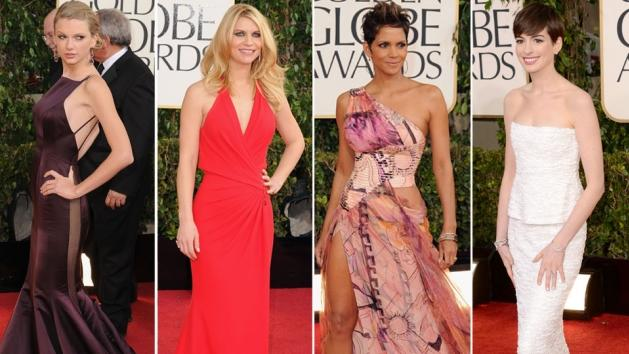 Taylor Swift, Claire Danes, Halle Berry and Anne Hathaway on the Golden Globes 2013 red carpet -- Getty Images