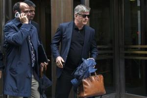 Actor Alec Baldwin departs after testifying in the trial against Genevieve Sabourin at Manhattan Criminal court in New York