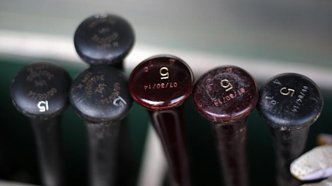 Pittsburgh Pirates' Josh Harrison's bats and  (5) sit in the bat rack along side Ike Davis bats (15) in the dugout before a baseball game against the Boston Red Sox  in Pittsburgh Thursday, Sept. 18, 2014. The Pirates won 3-2. (AP Photo/Gene J. Puskar)