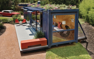 3 houses made of shipping containers