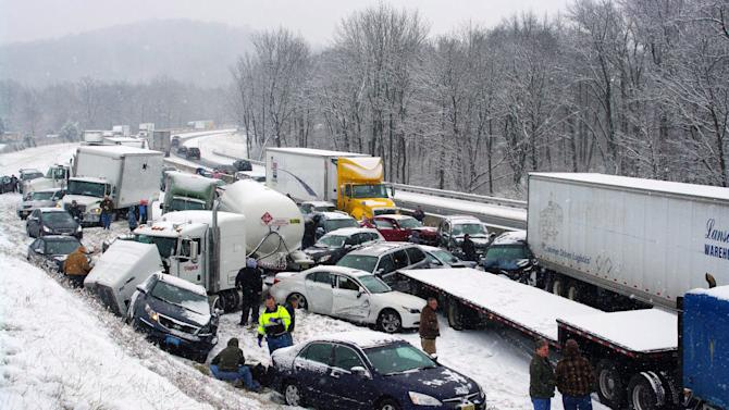Highways reopen in eastern Pa. after pileups
