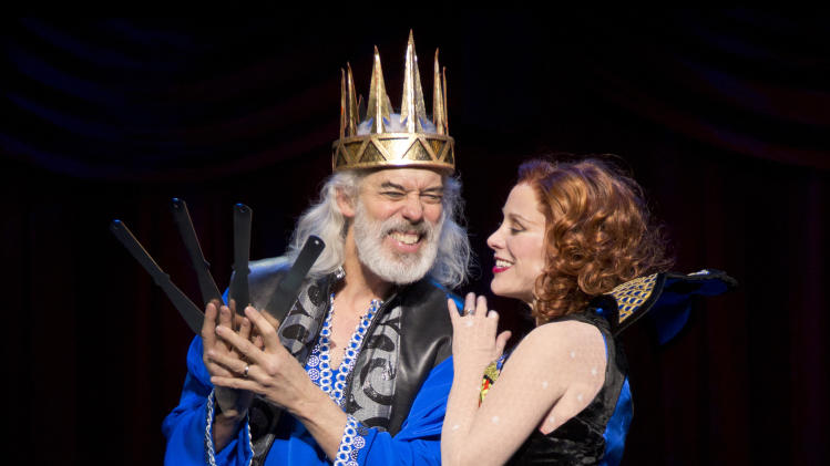 "This theater publicity image released by Boneau/Bryan-Brown shows Terrence Mann, left, and his wife Charlotte d'Amboise during a performance of ""Pippin."" (AP Photo/Boneau/Bryan-Brown, Joan Marcus)"