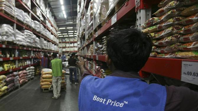 A employee works inside a Best Price Modern Wholesale store, a joint venture of Wal-Mart Stores Inc and Bharti Enterprises, at Zirakpur in the northern Indian state of Punjab