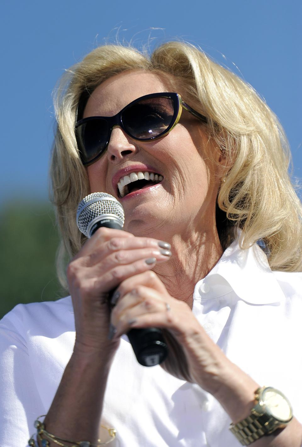 Ann Romney, wife of Republican presidential candidate Mitt Romney, speaks to supporters at a campaign event at Hudson Gardens and Event Center in Littleton, Colo., on Tuesday, Oct. 2, 2012.  (AP Photo/Chris Schneider)