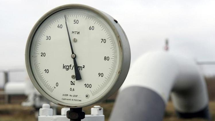 View of a gas pressure-gauge and the valve of the main gas-pipe near Kiev on January 2, 2006