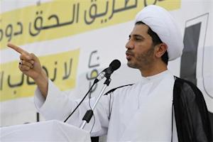 General Secretary of Bahrain's opposition party Al Wefaq Sheikh Ali Salman speaks during anti-government sit-in organized in Sitra
