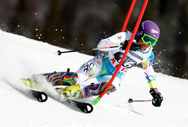 Czech Republic's Sarka Strachova skis on her way to take sixth place during an alpine ski women's World Cup slalom,  in Are, Sweden, Saturday, March 8, 2014