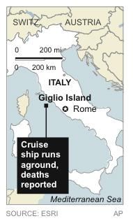 Map locates where cruise ship ran aground.