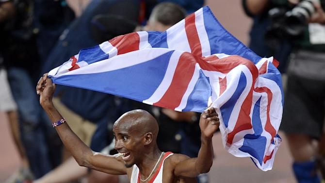 FILE - In this Saturday, Aug. 4, 2012 file photo, Britain's Mo Farah celebrates winning gold in the men's 10,000-meter final during the athletics in the Olympic Stadium at the 2012 Summer Olympics, London. Wars aside, losing used to be as British as milky tea. Growing up in Not-So-Great Britain meant living with rain and the cold, hard fact that the country which invented modern sports _ cricket, football, rugby, tennis, table tennis, you name it _ had since become rubbish at them. This was a nation so starved of sporting success that it went giddy when five Scottish women won Olympic gold in _ how embarrassing _ curling. So can a summer of victories turn around British fortunes forever or are Andy Murray, Mo Farah, Bradley Wiggins and their merry band of winners merely proof that, eventually, even the mangiest dog has its day? (AP Photo/Martin Meissner, File)
