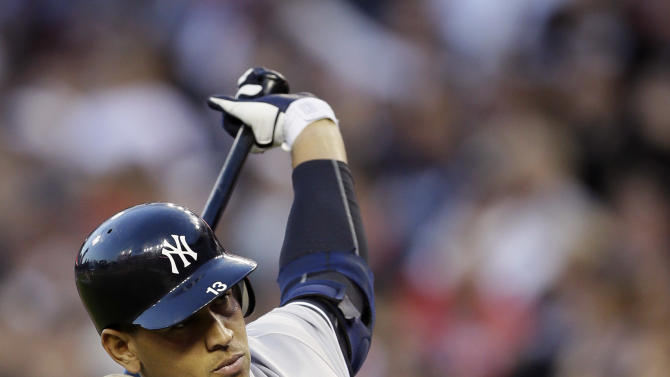 """FILE - In this Oct. 18, 2012 file photo, New York Yankees' Alex Rodriguez prepares to hit in the sixth inning during Game 4 of the American League championship series against the Detroit Tigers in Detroit. Major League Baseball says it is """"extremely disappointed"""" about a new report that says records from an anti-aging clinic in the Miami area link Rodriguez and other players to the purchase of performance-enhancing drugs. (AP Photo/Matt Slocum, File)"""