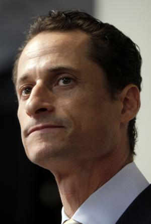 FILE - In a June 16, 2011 file photo, Anthony Weiner speaks to the media during a news conference in New York. The NBC New York-Marist Poll was released late Tuesday. It shows Weiner getting 15 percent of the vote in a potential Democratic primary, behind 26 percent for City Council Speaker Christine Quinn. Other Democratic candidates got between 2 and 12 percent. ut 50 percent of registered Democrats say they wouldn't consider voting for Weiner, while 46 percent would think about it.  (AP Photo/Seth Wenig, File)