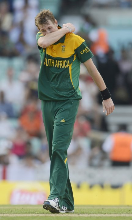 South Africa's Morris reacts during the ICC Champions Trophy semi final match against England in London
