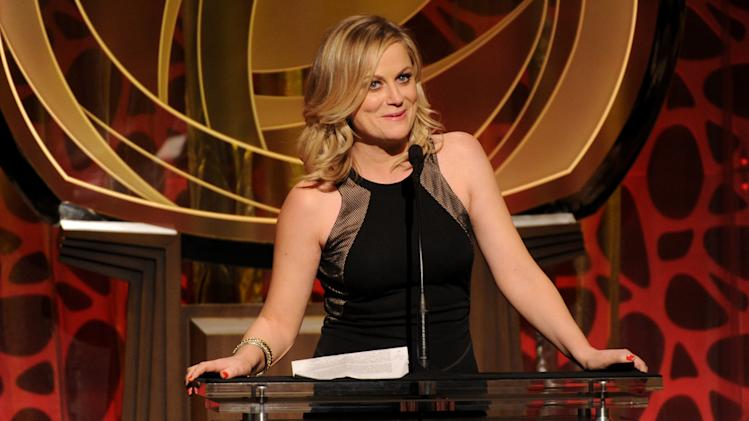 IMAGE DISTRIBUTED FOR THE TELEVISION ACADEMY - EXCLUSIVE - Amy Poehler speaks on stage at the 2014 Television Academy Hall of Fame on Tuesday, March 11, 2014, at the Beverly Wilshire in Beverly Hills, Calif. (Photo by Frank Micelotta/Invision for the Television Academy/AP Images)