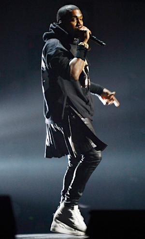 Kanye West Wears Leather Skirt for 12-12-12 Benefit Show