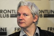 WikiLeaks founder Julian Assange attends a press conference in central London on February 27, 2012. The first episode of Assange&#39;s new TV interview show will be broadcast on Tuesday on Russia Today and online
