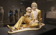 "The sculpture ""Michael jackson and Bubbles"" by US artist Jeff Koons is seen at the Liebighaus Skulpturen Sammlung in the central German city of Frankfurt am Main, Germany"