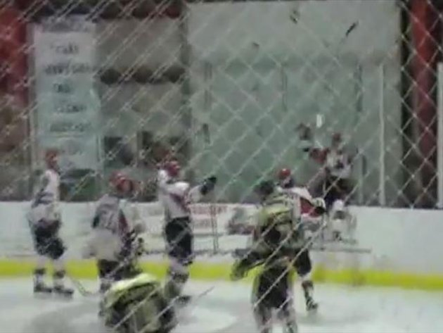 Ice hockey player's celebration goes hilariously wrong