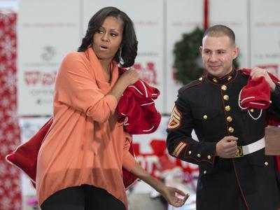 Raw: Michelle Obama Helps With Toys for Tots