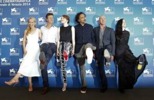 "Director Inarritu poses with actors Ryan, Norton, Stone, Keaton and Riseborough during the photo call for the movie ""Birdman or (The unexpected virtue of ignorance)"" at the 71st Venice Film Festival"