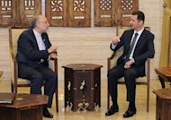 Syrian President Bashar al-Assad (R) meets Iranian Foreign Minister Ali Akbar Salehi in Damascus. Assad told Salehi that the uprising targeted both their governments and their allies across the region