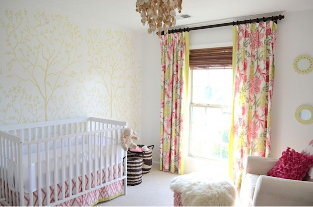 Feminine Green and Pink Nursery