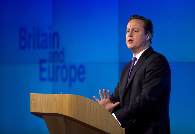 "<p>               Britain's Prime Minister David Cameron makes a speech on having a referendum on staying in the European Union in London, Wednesday, Jan. 23, 2013.  Cameron said Wednesday he will offer British citizens a vote on whether to leave the European Union if his party wins the next election, a move which could trigger alarm among fellow member states.  He acknowledged that public disillusionment with the EU is ""at an all-time high,"" using a long-awaited speech in central London to say that the terms of Britain's membership in the bloc should be revised and the country's citizens should have a say.  (AP Photo/Matt Dunham)"